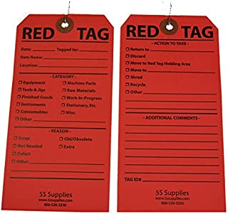 5S Red Tags (Wired) (50 Pack, Red)