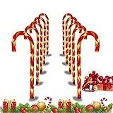 10 Piezas Luces de Camino de Navidad, Luces de Bastón de Caramelo con 8 Modos Marcadores de Camino de Color Blanco Cálido Luces de Navidad LED de 15 pulgadas de alto para Decoración Navideña