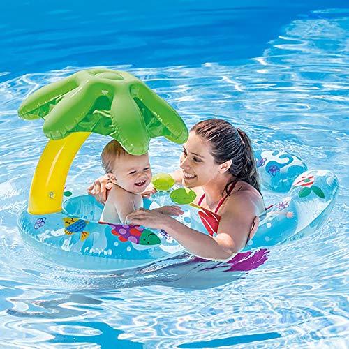 QYHSS Doppel-Personen-Schwimmring, Mutter und Baby Schwimmen mit abnehmbaren Sicherheits-Inflatable Sunshade Canopy, Doppel schwimmring Schwimmhilfen, Schwimmsitz, für Kinder 1-2 Jahren