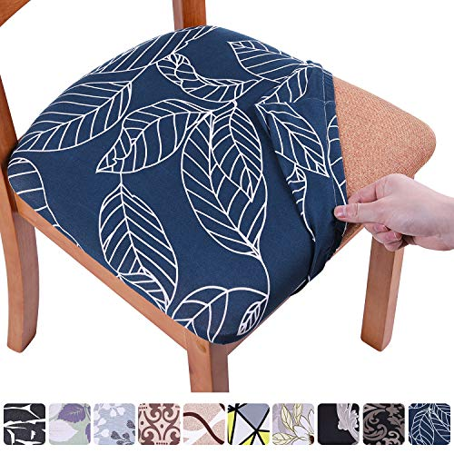 Homaxy Stretch Stuhlbezug Sitzfläche Weich Sitzbezug Stuhl Abwaschbar sitzbezüge für Esszimmerstühle Abnehmbar Stuhlhussen für Esszimmer- 4er Set, Blaue Blätter
