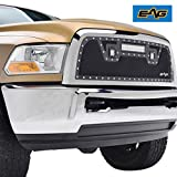 EAG Rivet Black Stainless Steel Wire Mesh Grille with LED Lights Fit for 13-18 Ram 2500/3500