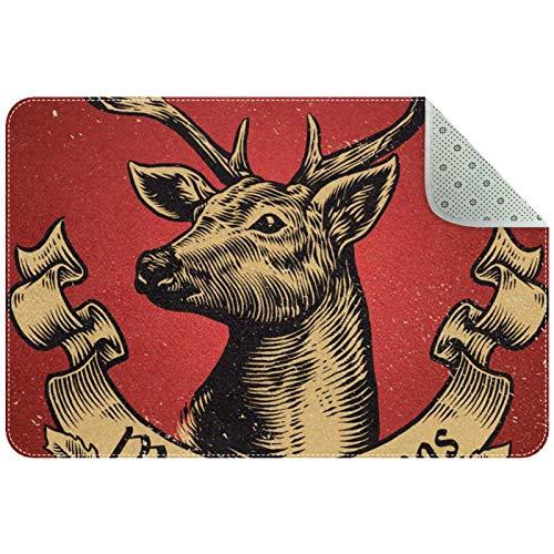 Bennigiry Alfombra de ciervos navideños con texto en bandera, alfombra de entrada para sala de estar, dormitorio, sala de juegos, 61 x 40 cm