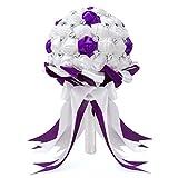 FAYBOX Crystal Satin Rose Bridal Bridesmaid Bouquets Wedding Flower Decor