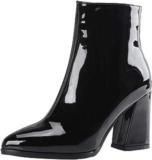 a1a96c1d034fc Kittcatt Femme Botte Vernis a Talon Bloc de 8cm Bottines Chunky Heels  Fermeture Eclair Fourrees Chaude