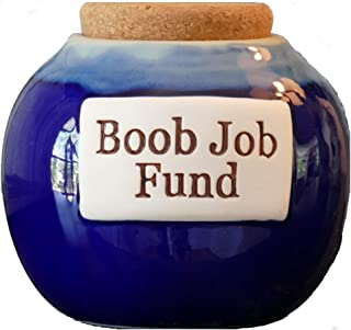 Tumbleweed Cottage Creek - Jars - Boob Job Fund - Blue Round Ceramic Jar with Cork Lid - Gifts for Women - Funny Gifts - Piggy Bank for Women