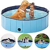Piscina plegable para perros, piscina plegable para mascotas, bañera de baño al aire libre, piscina para niños, piscina de plástico PVC resistente para perros, gatos y niños (80 x 20 cm)