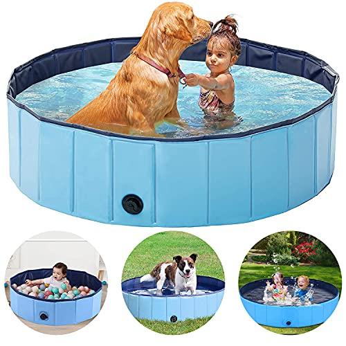Piscina pieghevole per cani, Piscina pieghevole per animali domestici, Vasca da bagno all'aperto, Piscina per bambini, Piscina da bagno in plastica PVC resistente per cani Gatti Bambini - 120*30 cm