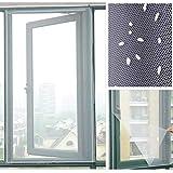 Cirdora Mosquitera para ventanas, protección contra insectos con autoadhesivo, red antimoscas sin agujeros, color antracita (transparente), 130 cm x 150 cm