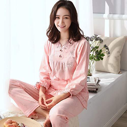 DFDLNL Conjunto de Pijamas artesanales de Flores ardientes, Ropa de Dormir de Manga Larga de algodón para Mujer, Traje de 2 Piezas, salón de Primavera en casa XXL