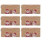 ABOOFAN Caja de embalaje para magdalenas de Navidad, 6 unidades, caja de embalaje para postres