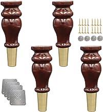 4 Pompoenvormige Bankpoten, Massief Houten Meubelpoten, TV Messing Voetafdekking Poten voor Bureautafel Keukenpoten Meubel...