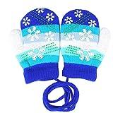 EROSPA® Baby Winter-Handschuhe Fäustlinge Fausthandschuh Fäustel Mädchen Jungen Schneeflocke 4 Farben (Blau)