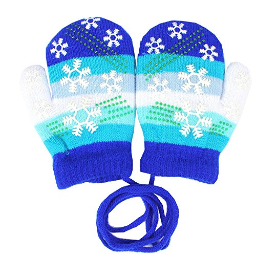 EROSPA EROSPA® Baby Winter-Handschuhe Fäustlinge Fausthandschuh Fäustel Mädchen Jungen Schneeflocke 4 Farben (Blau)