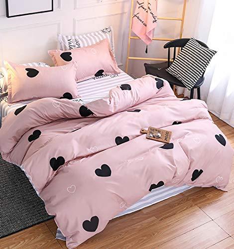 AShanlan Ropa de cama infantil de 140 x 200 cm, diseño de corazones, 100% microfibra, funda nórdica con cremallera y funda...