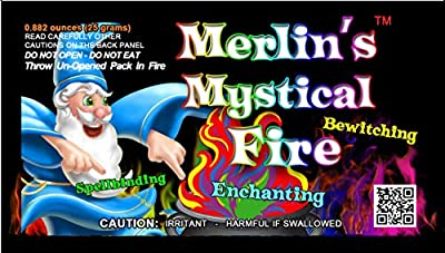 Mystical Fire Merlin's Fire Flame Colour Changer Vibrant Long-Lasting Pulsating Wood Fire Colour Changer for Indoor or Outdoor Use 25 grams Packets 10 Pack from Mystical Distributing Company Ltd.