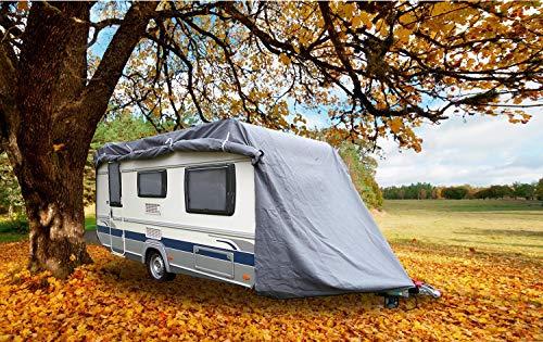 GreenYard Abdeckplane für Wohnwagen oder Wohnmobile Größe L | 610 x 250 x 220 cm | wasserabweisen | UV-beständig | schimmelresistent