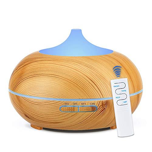 KBAYBO 550ml Control remoto Difusor de aroma 7 colores Difusor de aromaterapia Ultrasonidos Humidificador de vapor frío para oficina (USB) (Grano de madera ligero)