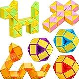 9 Piezas de Mini Serpiente de Cubo de 24 Bloques, Cubos de Velocidad Mágica, Mini Puzzle Rompecabezas de Plástico Juguete, Favores de Fiesta (Color Aleatorio B)
