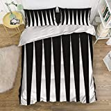 Z&L Home 4 Pieces Bedding Sets Twin Ultra Soft Duvet Cover Set Black and White Piano Keys Stripe Luxury Bed Cover Easy Care Sheet Quilt Set with Decorative Pillow Shams