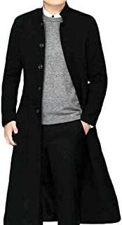 Klorim Men's Stand Collar Single Breasted Long Walking Coat Woolen Overcoat