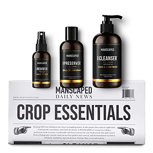 Cuidado personal para hombre de MANSCAPED Crop Essentials, kit de higiene íntima masculina, jabón íntimo, desodorante para los testículos, tonificador corporal y esterillas de afeitado desechables