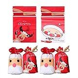 Toyvian 50 Pezzi di Sacchetti di Caramelle di Natale Fagotti Tasche con Coulisse Sacchetti Regalo per Bambini Bambini
