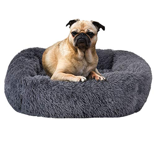 Wuudi Cama para perros y gatos, cama para mascotas, sofá para perros, cojín suave y lavable, para perros pequeños y medianos y gatos, 66 x 56 x 18 cm (gris oscuro)