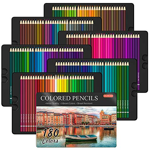 180 Colored Pencils Shuttle Art Soft Core Coloring Pencils Set with 4 Sharpeners Professional Color Pencils for Artists Kids Adults Coloring Sketching and Drawing
