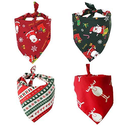Nice Dream Bandanas para Perro, Paquete de 4 Baberos Navidad Triangulares Lavables Reversibles, Accesorios para Perros y Gatos pequeños, medianos y Grandes