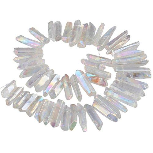 SUNYIK Angel Aura Titanium Coated Crystal Points Quartz Sticks Spikes Point Beads 15 inch Strand Drilled