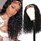 Water Wave Headband Human Hair Band Wig Real Human Hair Quick Wigs Water Wave Curly Wet and Wavy Wig No Lace Front Machine Made Wigs for Black Women Easy Wear Wigs 150% Density Natural Color 20 inch