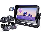 eRapta Backup Camera System 3.0 with 7'' Monitor for RV Trucks Side/Front/Rear View Back Up Camera Vehicle DVR System IP69 Waterproof 4 Cameras 4 Channels Avoid Blind Spot, EHD4