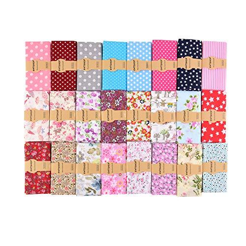 ewtshop - 25 tessuti in cotone 30 x 30 cm, patchwork fai da te, 25 motivi, per...