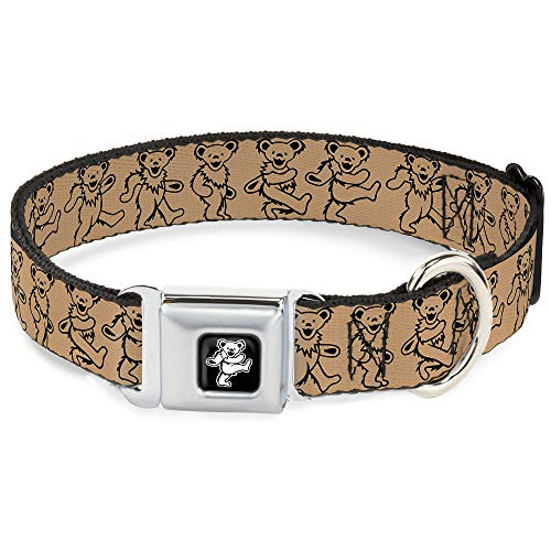 Buckle-Down Seatbelt Buckle Dog Collar - Dancing Bears Tan/Black - 1' Wide - Fits 15-26' Neck - Large