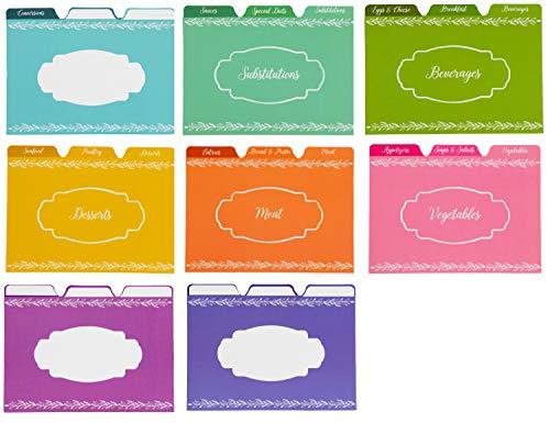 Set di divisori per schede di ricette, 24 unità, con linguette, organizer di fogli double face, schedario di ricette, 10 x 15 cm, accessori da cucina e ricette, in vari colori