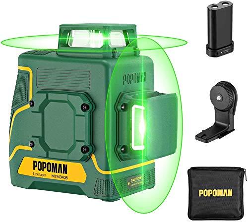 POPOMAN Kreuzlinienlaser Grün 45m, 2 x 360°Linienlaser mit USB Aufladung, Selbstnivellierenden und Pulsfunktion, Magnethalter, 360° Drehbar, IP54, Schutztasche - MTM340B