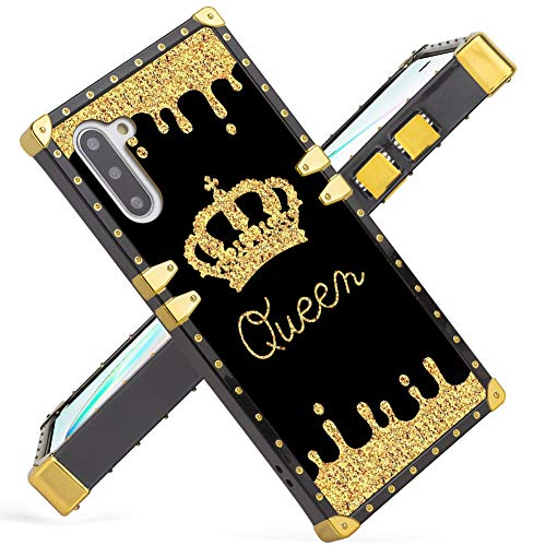 Fiyart Samsung Galaxy Note 10 Case 2019 Release Luxury Gold Queen Square Soft TPU Wrapped Edges and Hard PC Back Stylish Classic Retro Cover