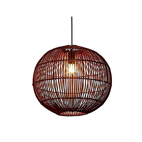 Luz colgante moderna Chandelier de transmisión de alta cabeza moderna de alta cabezal, lámpara de techo hecha a mano de ratán natural, 40 × 35 cm, adecuado for sala de estar, dormitorio, corredor y of