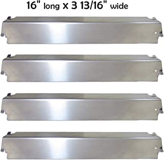 YIHAM KS763 Heat Tent for Char-Broil Replacement Parts 463215513 Grill Heat Shield Plate BBQ Burner Cover Flame Tamer for Kenmore Thermos Gas Grills, Stainless Steel, 16 inch x 3 13/16 inch, Set of 4