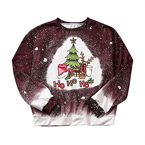 SMKY Blusa para mujer, elegante, de invierno, con letras impresas, cuello redondo, manga larga, túnica, Vino, S