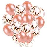 Fullsexy YHmall 30 Piezas de 12 'Serie de Oro Rosa Juego de Globo de Látex, Rose Gold Circle Confeti con Globos de Fiesta de Látex para Decoraciones de Cumpleaños