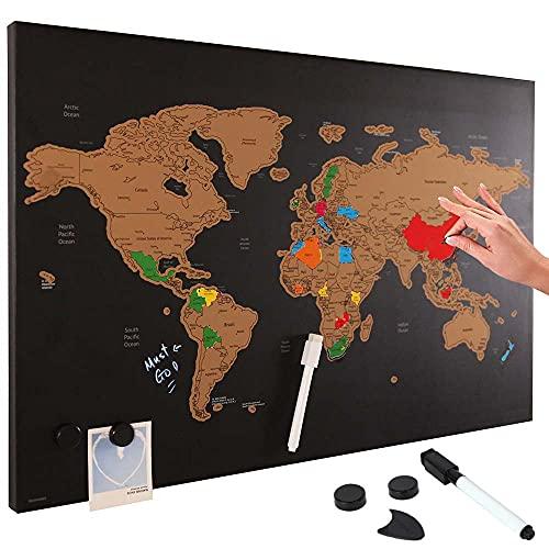 BAKAJI Lavagna Magnetica Mappamondo da Grattare Cartina Geografica Mappa del Mondo Scratch off Dimensione 60 x 40 cm da Parete Muro Design Moderno con Pennarello Cancellabile e Magneti Idea Regalo