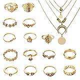 Dsaren 16 Pack de Anillos Mujer Dorados Collar Multicapa Boho Knuckle Rings con una Caja de Regalo para Mujeres Niñas Amigos Regalo de Cumpleaños