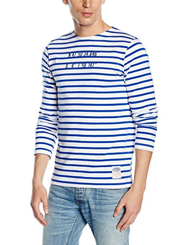Armor Lux, T-Shirt Rayé Manches Longues Homme, Blanc, Large (Taille Fabricant: L)