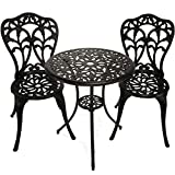 InnFinest 3-Piece Patio Bistro Dining Set - Cast Aluminum Table and Chairs - Outdoor Furniture Tulip Design - with Umbrella Hole - Ergonomic Rust-Resistant - for Porch Backyard Garden Balcony (Black)