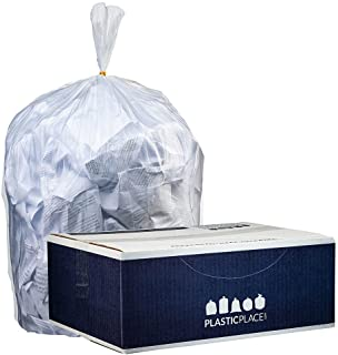 """Plasticplace 55-60 gallon Trash Bags │ 12 Microns │ Clear High Density Garbage Can Liners │ 36"""" x 60"""" (200Count)"""