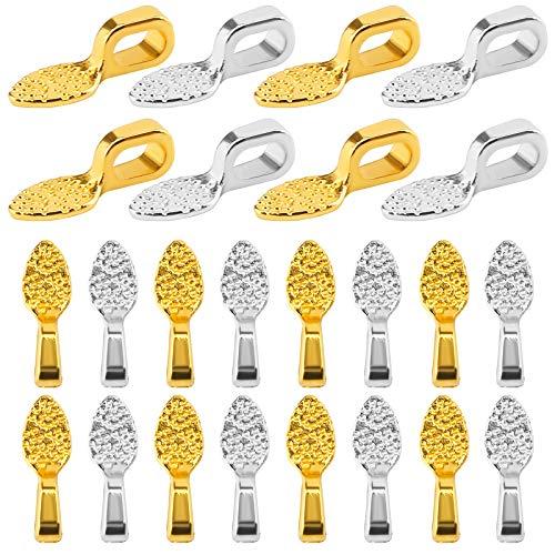 SAVITA 100Pcs 15x5mm Oval Spoon Glue on Earring Bail Jewelry Bails for DIY Making Scrabble Glass Cabochon Tiles Pendants (Silver, Gold)
