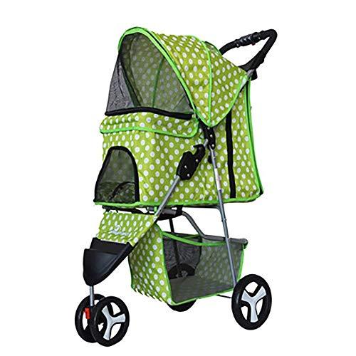 WYJW Kinderwagen für kleine KatzenDogs Einfach Faltbare dreirädrige Travel Pet Jogger Maximale Tragfähigkeit 20 kg (Farbe: Grün)