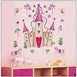 bloom Abnehmbare Wandaufkleber Pink Princess Castle Fenster Aufkleber Schlafzimmer Dekor Wandposter Baby Girls Schlafzimmer Kunst