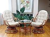 Set of 2 Bali Lounge Swivel Rocking Chairs with Cream...